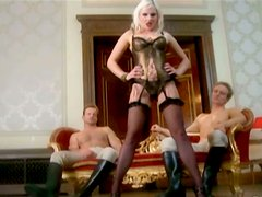 Raunchy blonde hoe with provocative appeal is fucked bad in gangbang