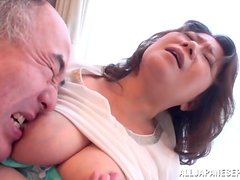 Mature Japanese bitch gets her vag fingered and fucked from behind