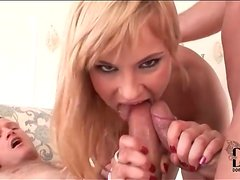Lots of cumshots on her after DP sex