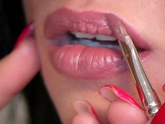 Young brunette girl Mandy putting on makeup