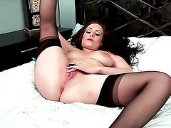 Sophia Delane with huge tits and trimmed muff