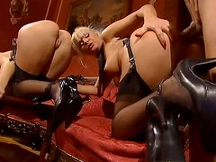 Sex-starved blonde Kathy Anderson takes part in threesome
