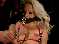 Petite curly blondie gets her tits tortured with hot wax and clamps