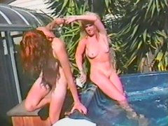 Pleasuring lesbian fun among hot babe in vintage clip