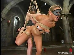 Bondage Session with Kinky Toying Using Electrical Devices for Torture