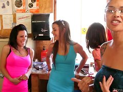 Amazing brunette with perfect tits gets fucked in a kitchen