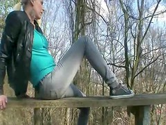 Amateurs making hot video near the forest