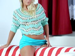 Gorgeous blonde Miela A pleases herself with fingering indoors