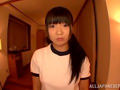 Slutty asian teen gets banged hard by two sexy dudes.