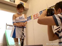 Asian babe in cheerleader uniform lifts the skirt up and gets fucked