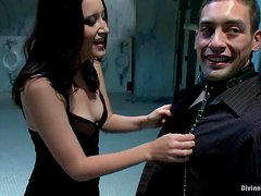 Sexy Kimberly Kane tortures guy's dick and gets fucked