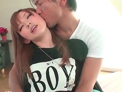 Kissing sexy Japanese girl in tight pants