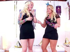 Cali Carter and Tiffani Taylor are sucking that dick