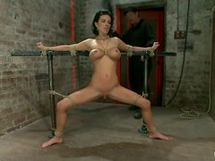 Submissive gets tied up and choked with ropes