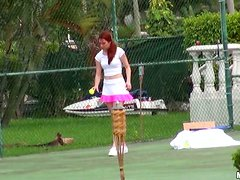 Redhead Melody Jordan plays tennis and then gets rammed