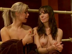 Tied up blonde and brunette get toyed and humiliated