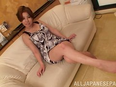 Beautiful Japanese Girl Sakiko Mahara Pleasing a Cock with Tits and Butt