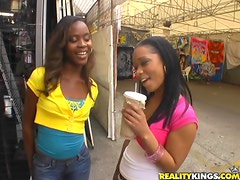 Hardcore threesome with two wild ebony babes and a huge veined dick.