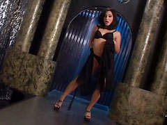 Petite brunette Roxy Jezel enjoys drilling her tight pussy with a dildo