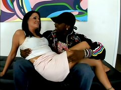 Slutty brunette swallows a big load after riding a black cock