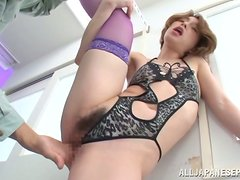 Tamaki Nakaoka moans loudly while being fucked in standing position