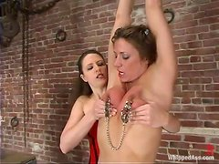 Kym Wilde gets toyed, whipped and clothespinned in femdom vid