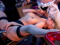 Bizarre MMF threesome with sassy secretary at the metallurgical plant