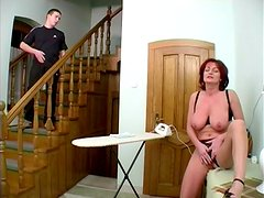 Sex on the stairs with a lusty mature lady