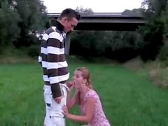 Amateur girl sucking this guys cock outdoors