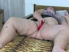 Chubby old woman masturbates in front of her lesbian friend
