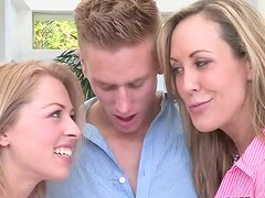 Two sensual blondes give tug job and blow job to one well-endowed stud