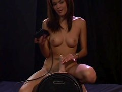 Daisy Marie moans with pleasure while jumping on a fucking machine