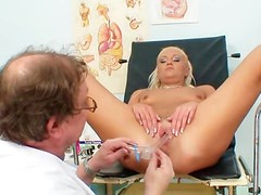 Small-tit blonde Eliss Fire and her lovely doctor