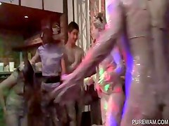 Dirty lesbos attend a WAM sexparty