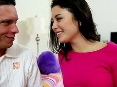 Insatiable brunette sweety gives her lover one hell of a blowjob