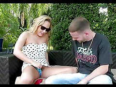 Hor sex in the patio with a horny blonde hottie