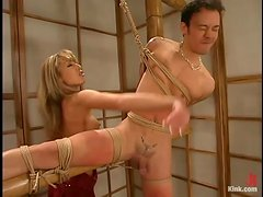 Petite blond mistress Janay goes cruel on Kai