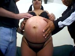 Pregnant chick Alicia gets her hairy snatch drilled in MMF video