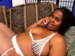 Pregnant Ebony Whore Sucks Huge Stiff Cock And Wits For Jizz On Her Tits