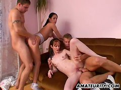This foursome video involves horny sluts getting a lot of cum in mouth and drinking it up