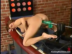 Venus fingers her snatch and gets double penetrated by sex machine