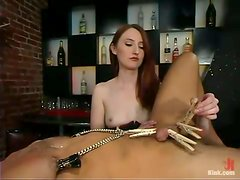 Kendra James pinches Sebastian's cock before fucking him with a strapon