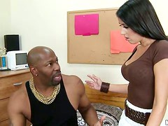 Luscious honey is getting her holes balled by a black one