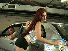 Sextractive babe Mira Sunset is washing a car and getting her pussy licked