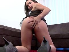 Trashy brunette slut gets fingered before face fucked