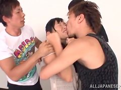 Japanese babe participates in a wild hardcore group sex.