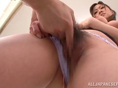 Japanese teacher Sayuki Kanno gets her cooch fingered by her student