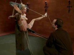 Rain DeGrey get her pussy gaped and toyed in BDSM video