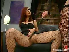Sasha Monet gets fucked and whipped by Kym Wilde indoors