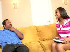 Nice ebony girl is getting her doggystyle freak on for this video